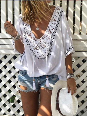 Boho V Neck Lace Hollowed Half Sleeve Blouses