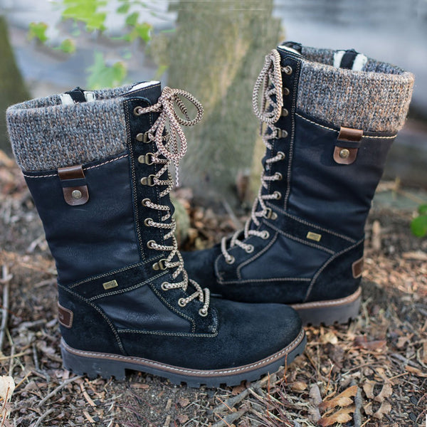 All Season Lace Up Warm Comfy Flat Heel Boots