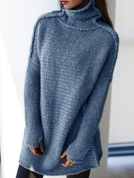 Women Knitted Casual Turtleneck Long Sleeve Sweaters Plus Size Pullovers-TOPS-Wotoba-Blue-S-Wotoba