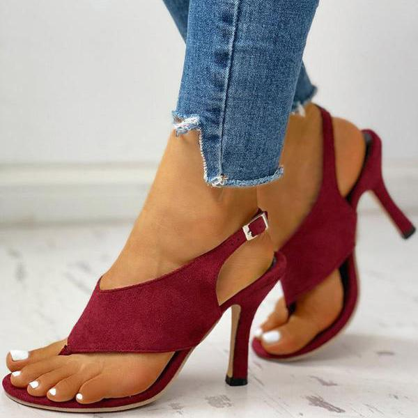 Toe Post Slingback Thin Heeled High Heel Sandals