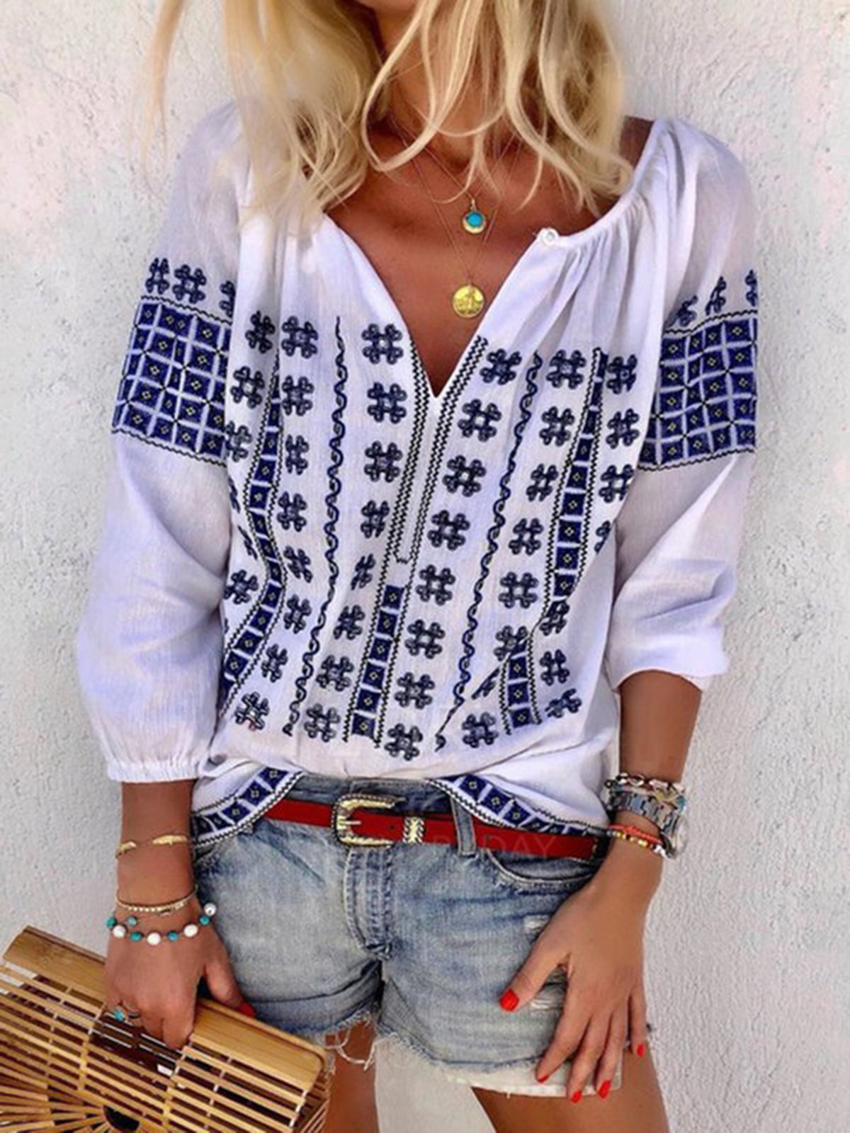 White Casual Ethnic Floral Printed 3/4 Sleeve Plus Size Blouse