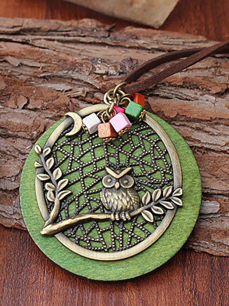 Vintage Natural Green Owl Alloy Necklaces