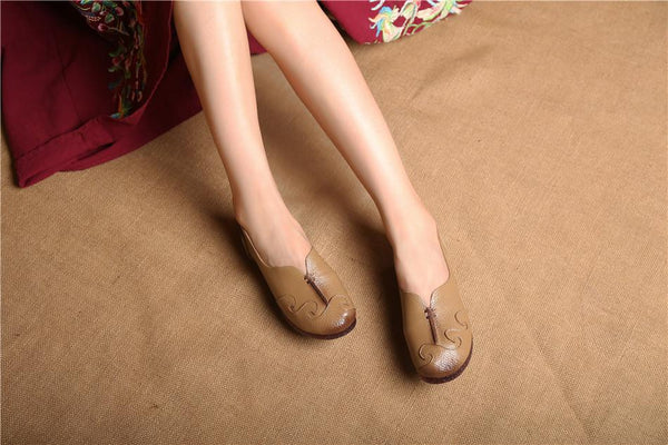 Handmade Ethnic Comfort Genuine Leather Flat Loafer Daily Shoes