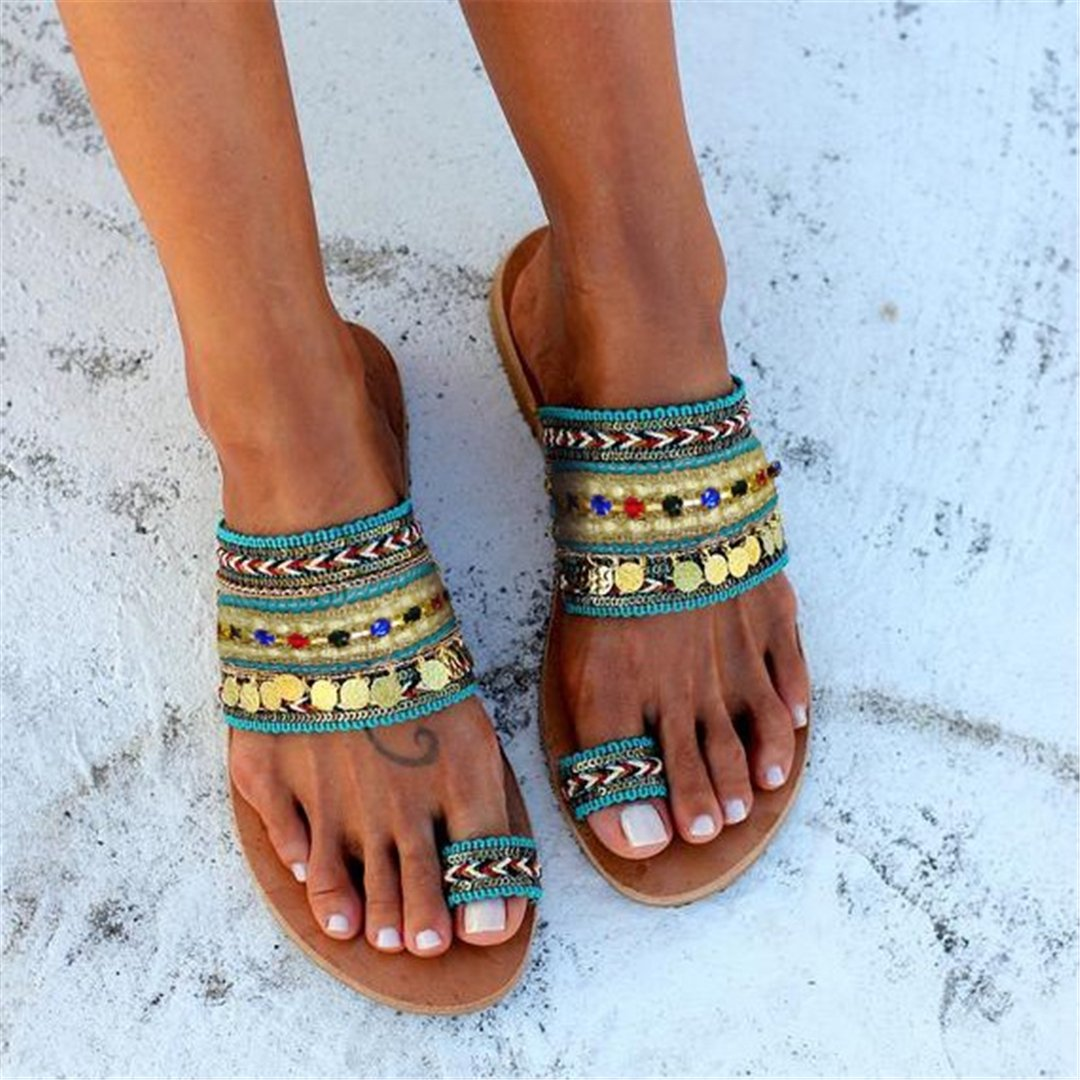 Fashion Vintage Ethnic Flat Bohemian Sandal Shoes
