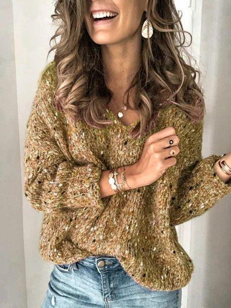 Plus Size V Neck Long Sleeve Casual Sweater