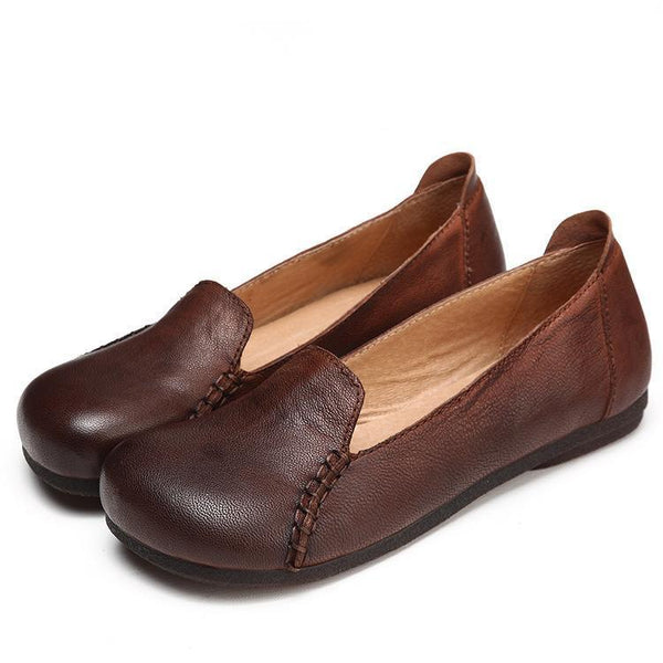 Handmade Soft Genuine Leather Casual Flat Casual Daily Loafers Shoes For Women