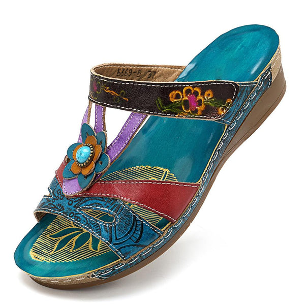 Retro Magic Forest Hand-colored Boho Genuine Leather Hook Loop Slip On Comfortable Sandals