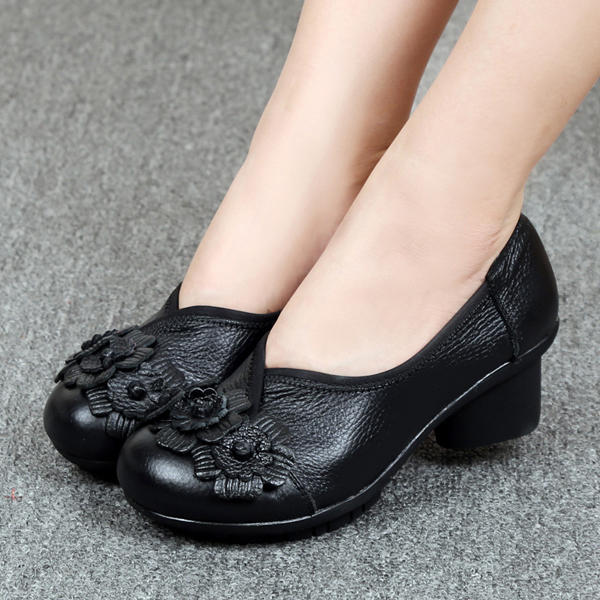 Women Casual Soft High Heel Shoes In Leather