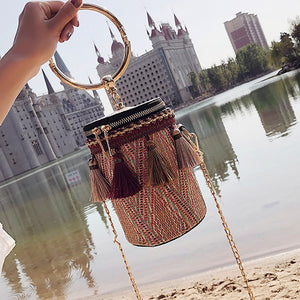 Handmade Woven Mini Slant Hand Bucket Single-Shoulder Bag