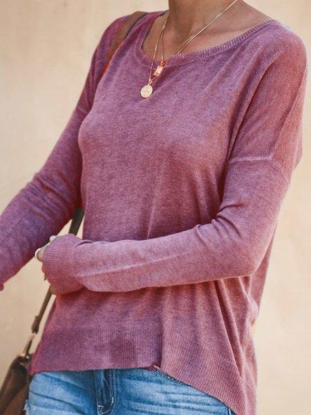 Plus Size Solid Casual Long Sleeve Shirt Blouse Tops