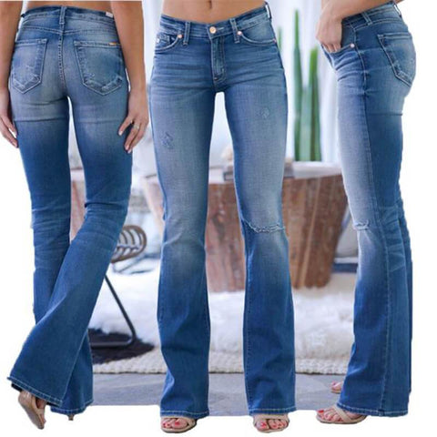 70s Stretch Hip Hugger Street Style Boot-cut Jeans - A Super Life