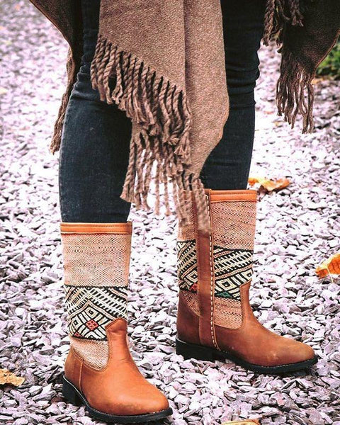 Vintage Tribal Warm Ethnic Style Printed Leather Boots