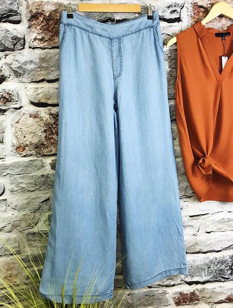 Plus Size Denim Vintage Solid Wide Leg Pants