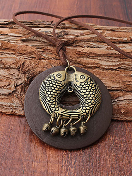 Vintage Natural Stone Brown Fish Alloy Necklaces