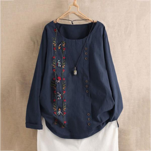 Women's Comfy Plus Size Casual Vintage Floral Embroidered Long Sleeve Shirt Blouse