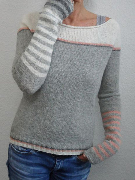 Color-Block Long Sleeve Crew Neck Sweater