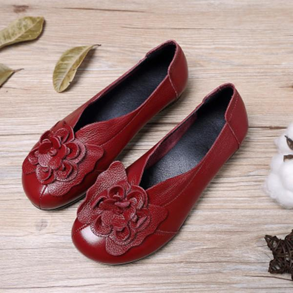 Large Size Flower Soft Comfy Leather Lazy Flats Shoes Casual Daily Loafers