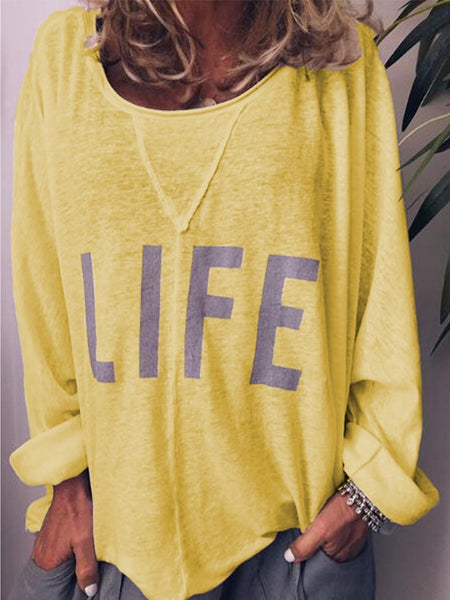 Women's Comfy Plus Size Casual White Round Neck Casual Letters Shirts