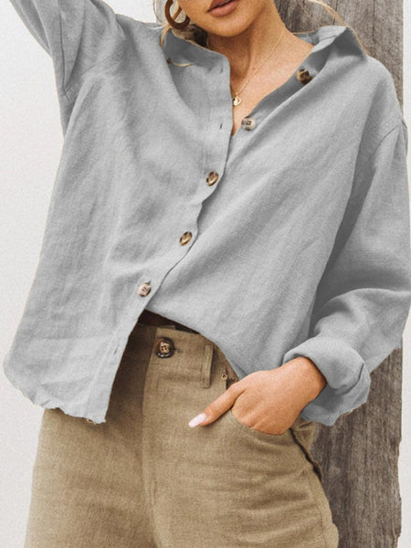 Shawl Neck Linen Solid Casual Shirts & Tops