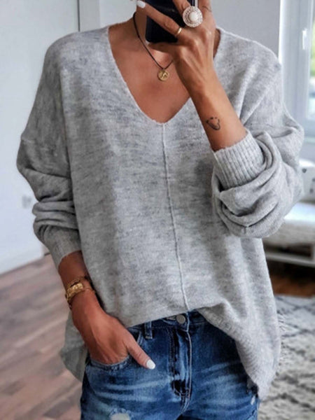 Solid Long Sleeve V-neck Knitted Top
