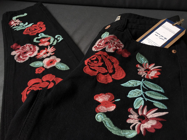 Retro Black Rose Floral Embroidery Slim Jeans Cotton Blend Denim Pants