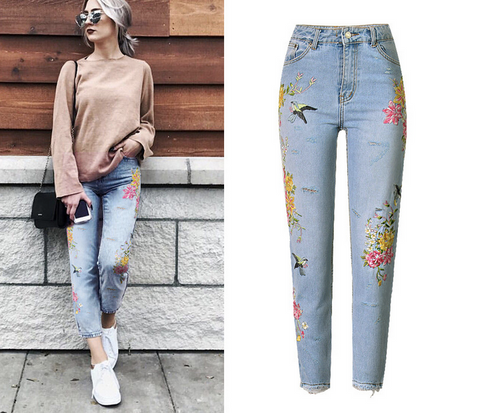 Fashion Floral Embroidered Jeans Denim Pants