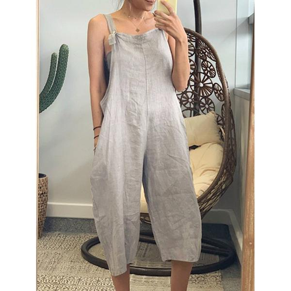 Summer Vacation Solid Color plus size casual Loose Jumpsuit