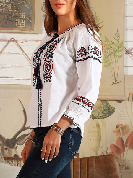 Boho Cotton Shift Vintage Floral Embroidery Shirt for Women