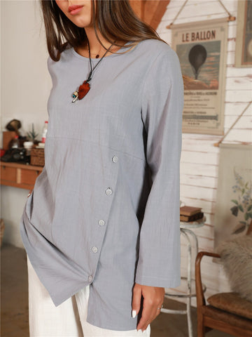 Retro Solid Lightblue Crew Neck Shift Casual Shirts & Tops
