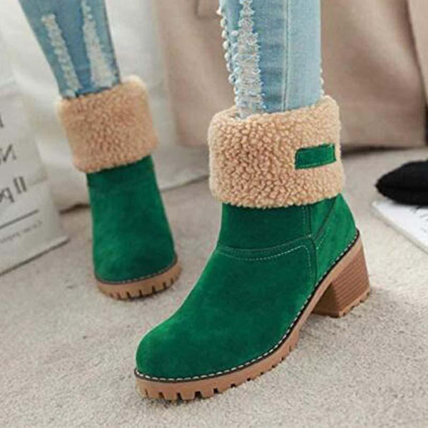 Comfy Warm Chunky Heels Ankle Snow Boots