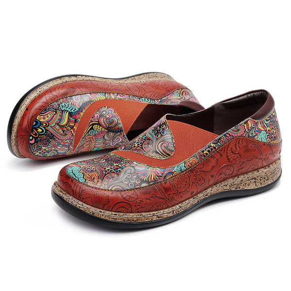 Vintage Handmade Round Toe Splicing Printing Pattern Genuine Leather Flats Shoes Loafers