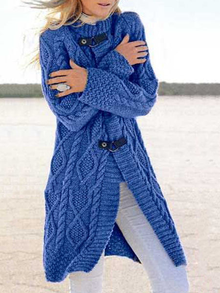 Women Long Sleeves Solid Sweater Cardigan Outerwear