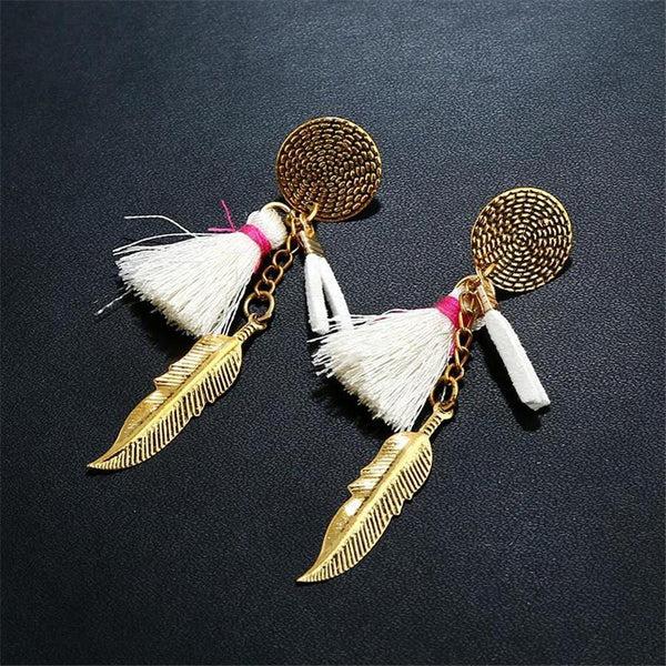 Bohemian Fringed Leaf Alloy Earrings