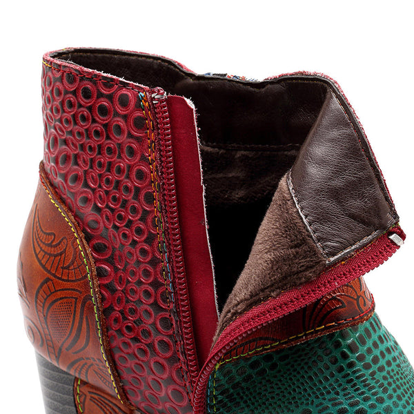 Boho Handmade Genuine Leather Splicing Pattern Button Zipper Ankle Boots Booties