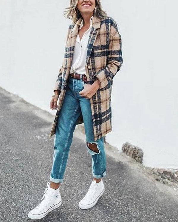 Vintage Lapel Collar Casual Check Wool Coat Outerwear