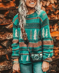 Christmas Tree Casual Printed Round Neck Sweater