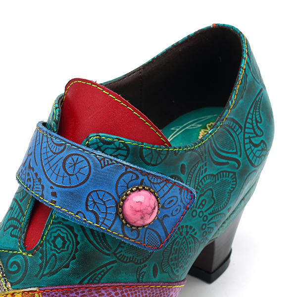 Retro Handmade Genuine Leather Splicing Pattern Retro Shoe Button Hook Loop Pumps