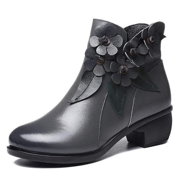 Handmade Retro Genuine Leather Flower Stitching Comfortable Low Heel Boots Booties