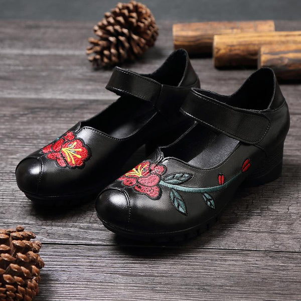 Handmade Ethnic Retro Floral Embroidered Genuine Leather Women's Daily Loafer Shoes