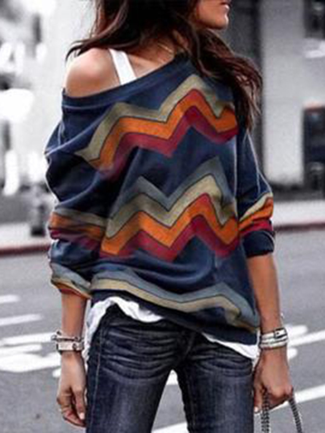 Plus Size Geometric Fashion Knitwear