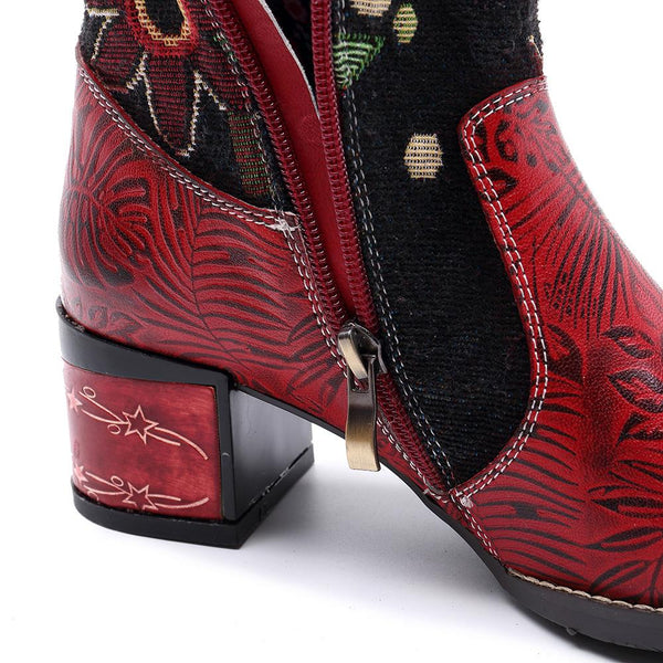 Bohemian Handmade Retro Genuine Leather Block Heel Long Boots Exotic Flower Pattern