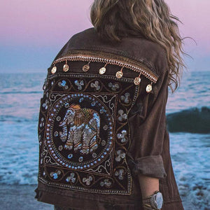 Women's boho jacket Printed Color Long Sleeve Denim Coat bohemian outerwear