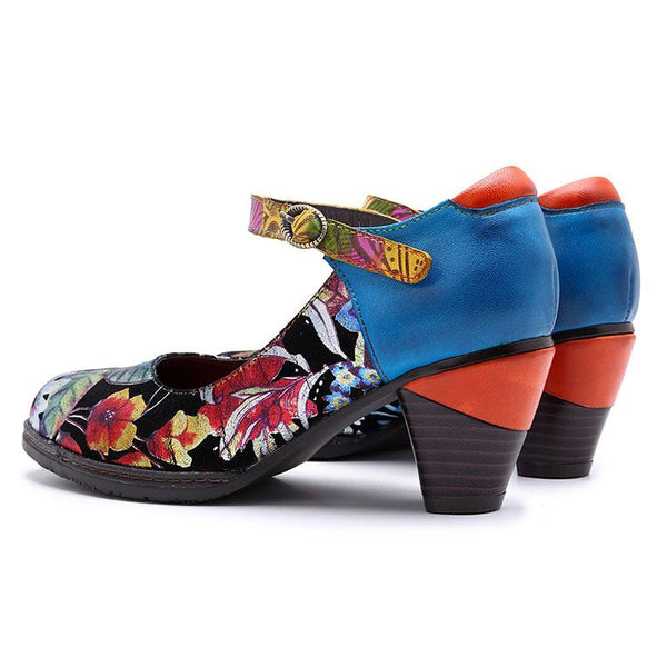Women's Bohemian Genuine Leather Flower Printing Handmade Sandals Shoes