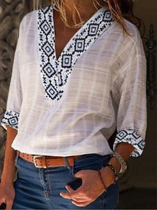 Women's Tribal Floral V Neck Long Sleeve Linen T-shirt
