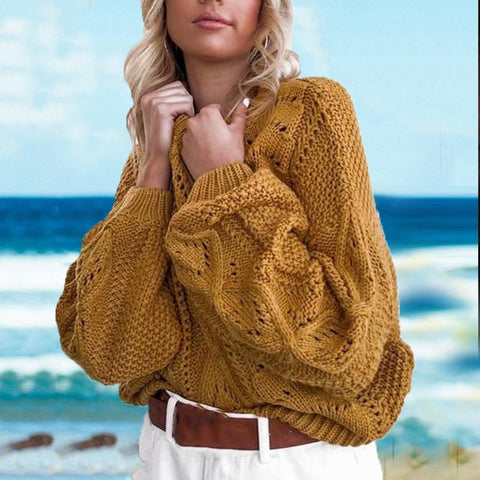 Plus Size Hollow-out Lantern Sleeve Loose Knit Sweater