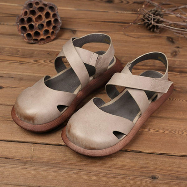 Hollow Out Pure Color Handmade Genuine Leather Retro Sandals