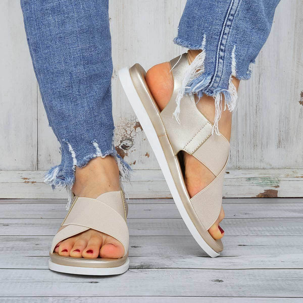 Casual Vacation Fashion Cross Elastic Flat Sandals