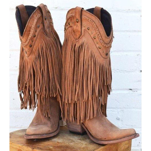 Plus Size Tassels Vintage Leather Chunky Heel Cowboy Mid-calf Boots