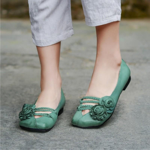Retro Handmade Soft Genuine Leather Vintage Stitching Flowers Flat Loafer Daily Shoes