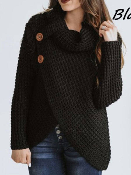 Asymmetrical Slit Buttoned Cowl Neck Plus Size Knitted Oversize Sweater